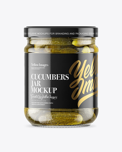 Clear Glass Jar with Pickled Cucumbers Mockup