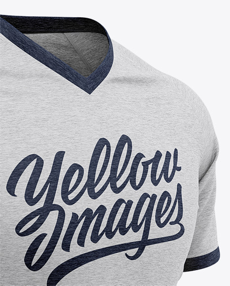 Download Mens Heather V Neck T Shirt Mockup Front View Yellow Images