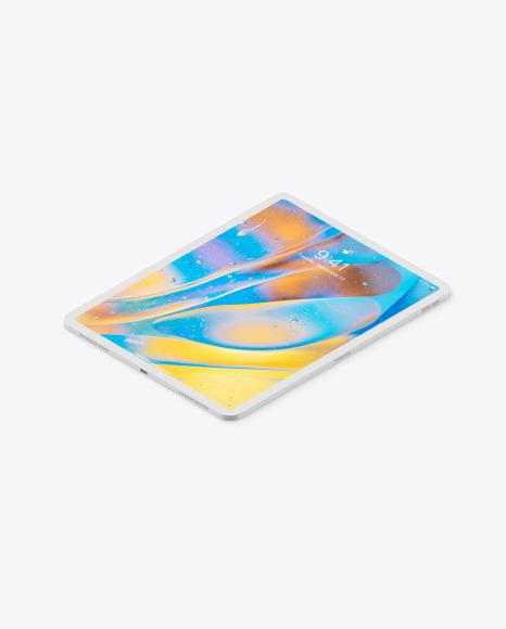 iPad Pro 12.9″ Isometric Clay Left Mockup