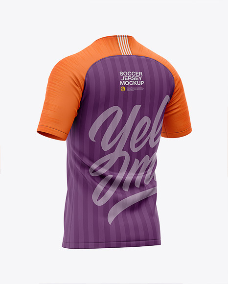 Men's Soccer Raglan Jersey Mockup - Back Half-Side View - Football Jersey Soccer T-shirt