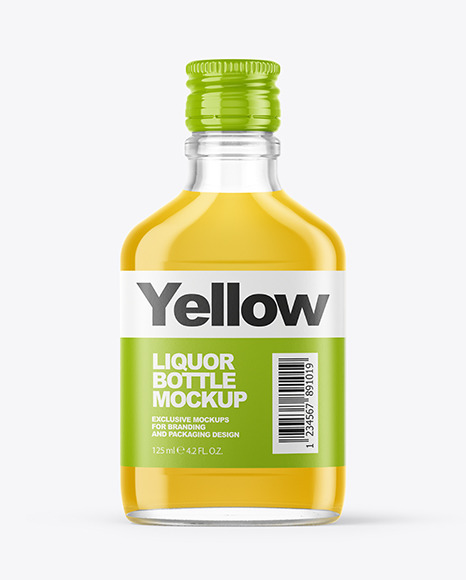 Download Clear Glass Bottle With Liquor Mockup In Bottle Mockups On Yellow Images Object Mockups PSD Mockup Templates