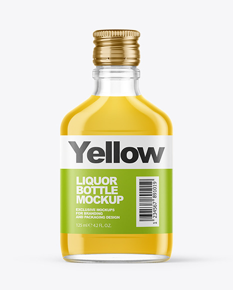 Clear Glass Bottle with Liquor Mockup