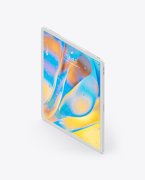 iPad Pro 12.9″ Isometric Clay Left Portrait Mockup