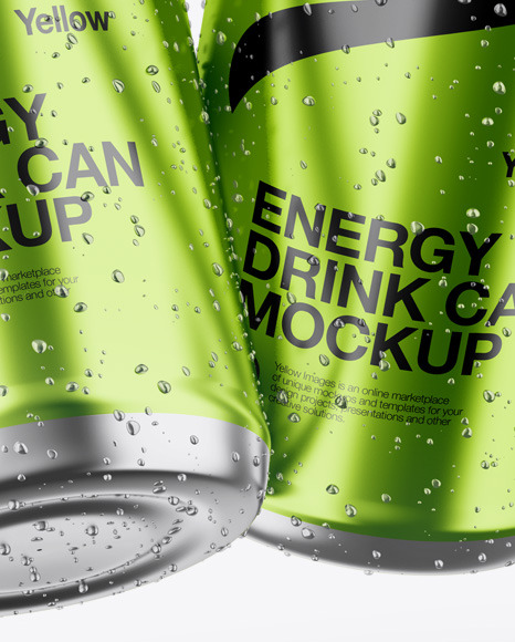 Two Glossy Metallic Cans Mockup