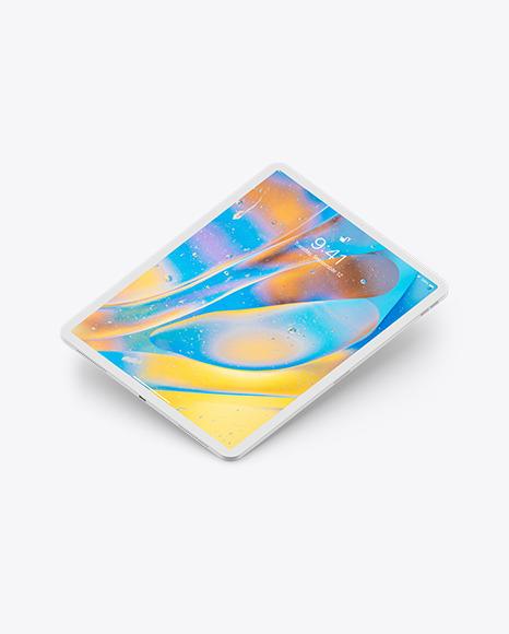 iPad Pro 12.9″ Isometric Clay Left Floating Mockup