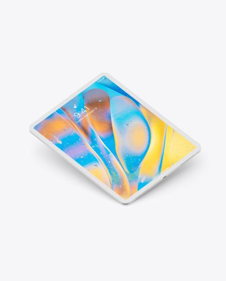 iPad Pro 12.9″ Isometric Clay Right Floating Mockup