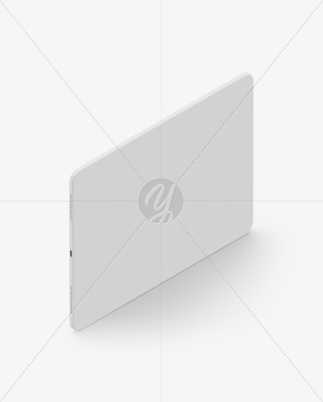 Pad Pro 12.9″ Isometric Clay Right Landscape Mockup