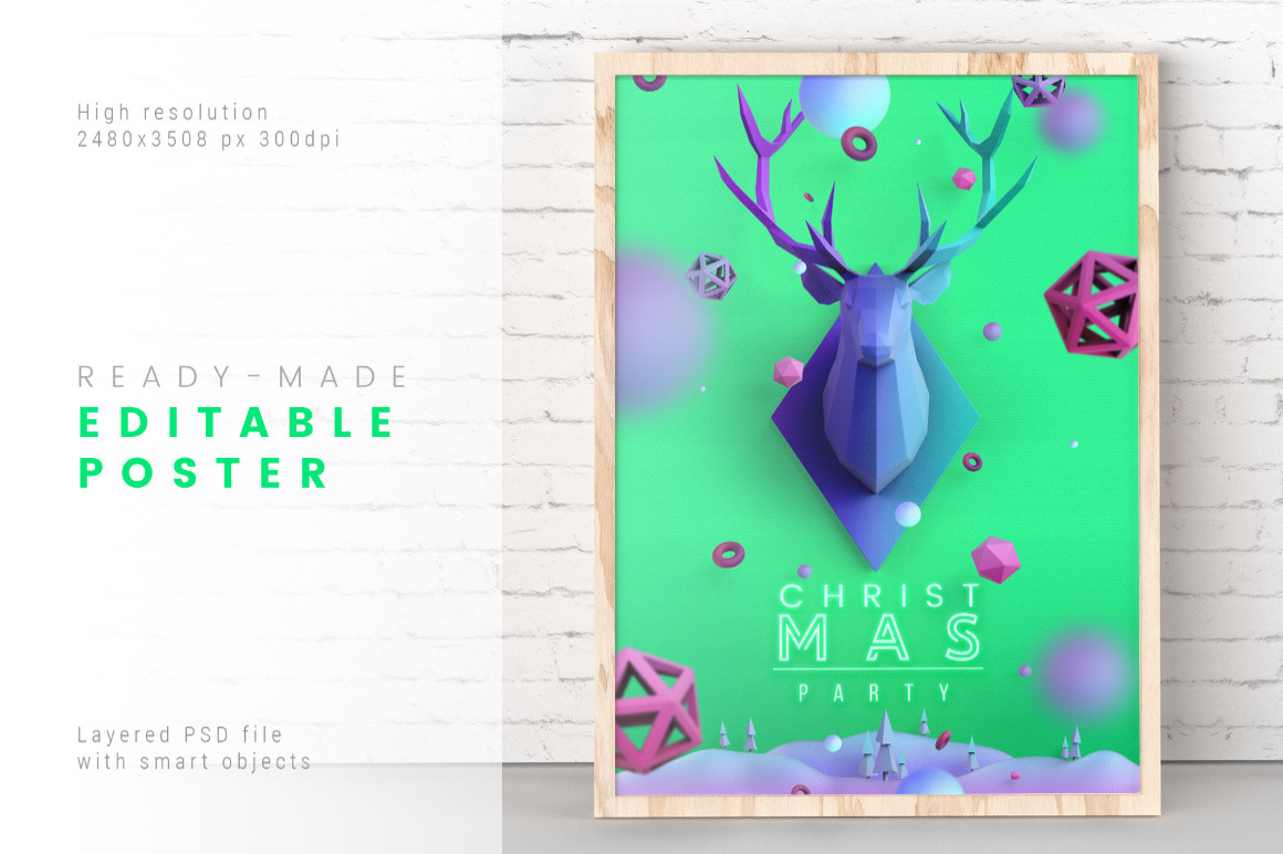 Christmas Poster in Aquamarine Color / Layered PSD