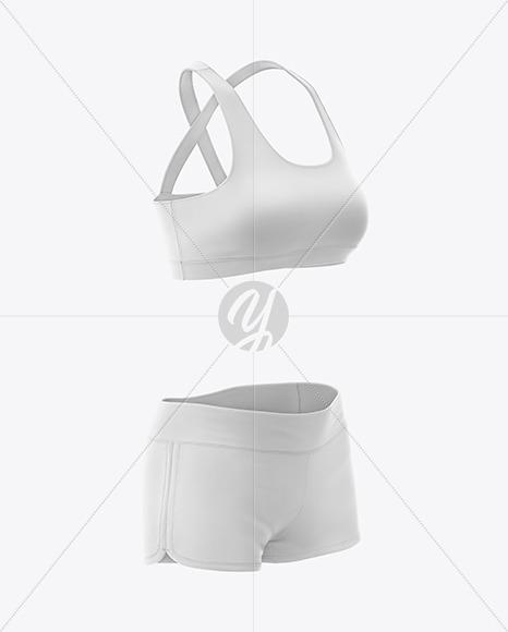Women's Fitness Kit Mockup  - Front Half Side View
