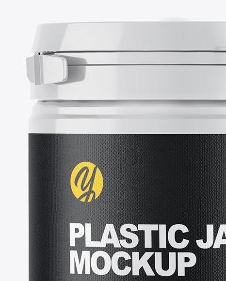 Glossy Plastic Jar w/ Glossy Box Mockup