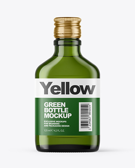 Download Green Glass Bottle Mockup In Bottle Mockups On Yellow Images Object Mockups PSD Mockup Templates