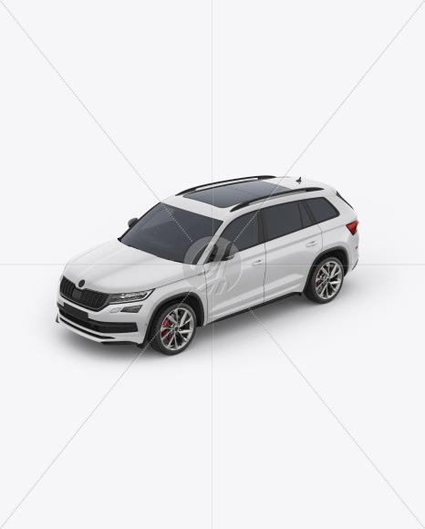 SUV Crossover Car Mockup - Half Side View (High-Angle Shot) - Yellowimages Mockups
