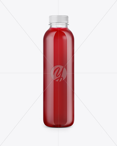 Clear Bottle with Cherry Juice Mockup
