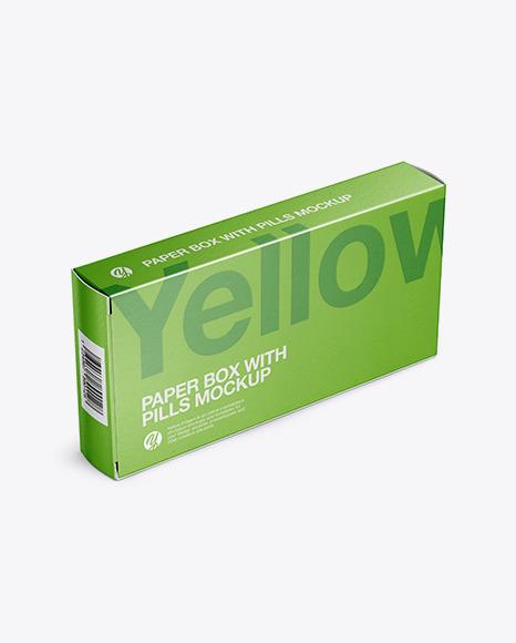 Paper Glossy Pills Box Mockup - Halfside View (High Angle Shot)