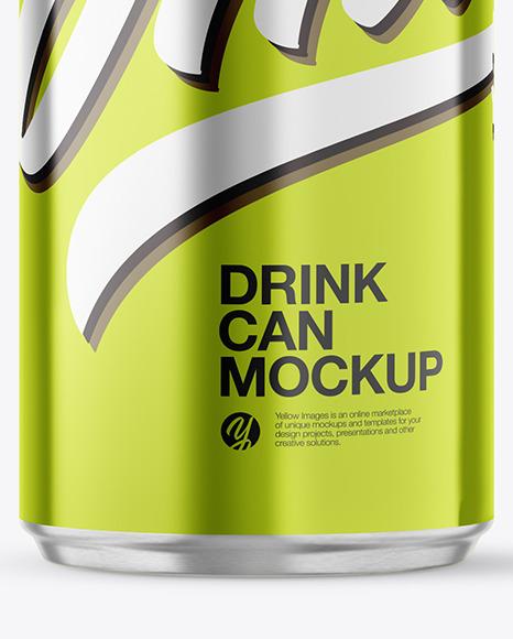 Metallic Aluminum Drink Can Mockup