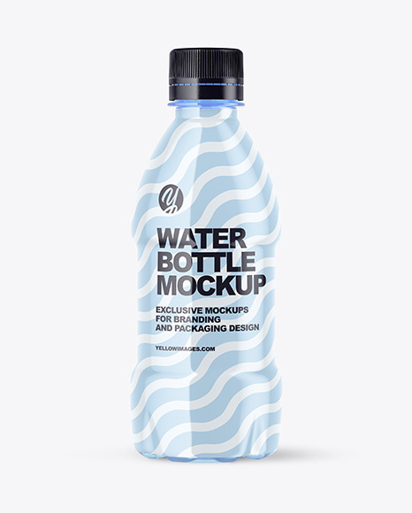 250ml PET Blue Water Bottle Mockup