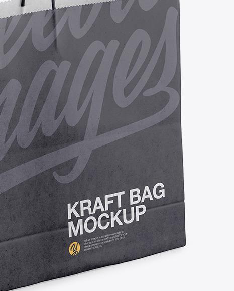 Kraft Shopping Bag with Rope Handle Mockup - Halfside View (High-Angle Shot)