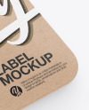 Kraft Square Label With Rope Mockup - Half Side View