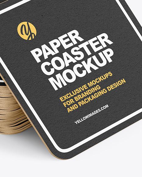 Stack of Paper Beverage Coasters Mockup