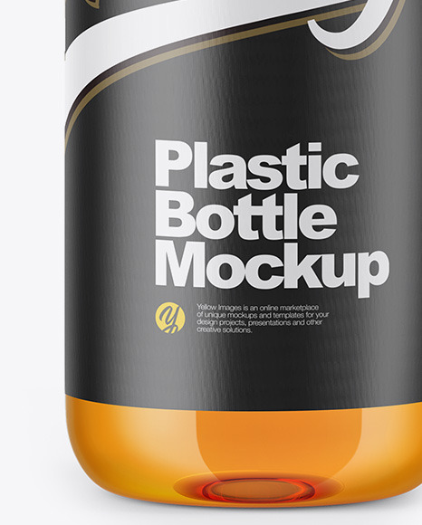 Clear Bottle with Apple Juice Mockup