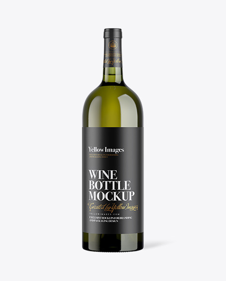 1L Green Bottle of White Wine Mockup