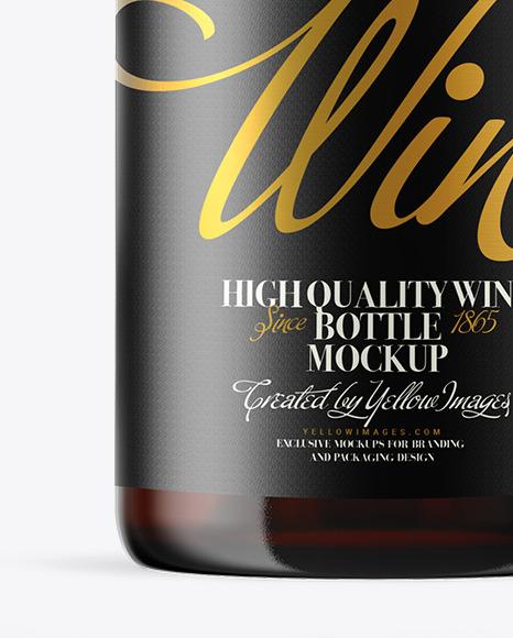 Amber Glass Wine Bottle Mockup