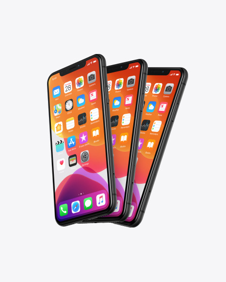 Three iPhones XR Mockup
