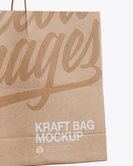Kraft Shopping Bag with Rope Handle Mockup - Halfside View