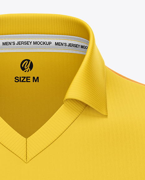 Men's Jersey With V-Neck Mockup - Front View