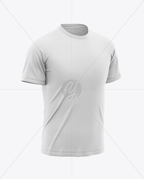 Men's Raglan Crew Neck T-Shirt Mockup - Front Half-Side View