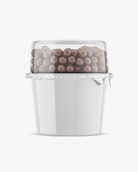 Glossy Plastic Cup with Chocolate Balls Mockup