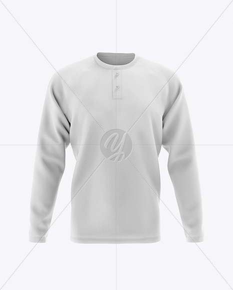 Men's Long Sleeve Henley Raglan Mockup