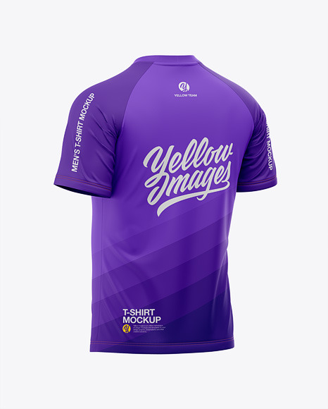 Men's Raglan Crew Neck T-Shirt Mockup - Back Half-Side View - Football Jersey Soccer T-shirt