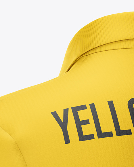 Men's Jersey With V-Neck Mockup - Back Half Side View