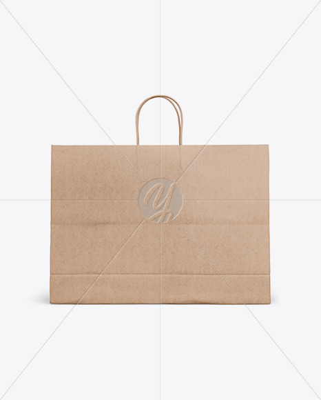 Kraft Shopping Bag with Rope Handle Mockup - Front View