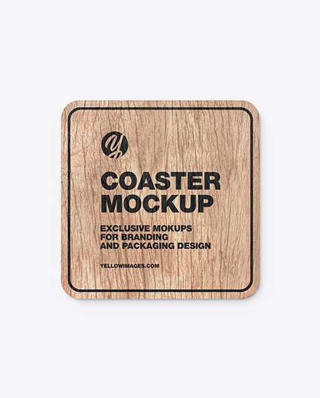 Download Wooden Beverage Coaster PSD Mockup
