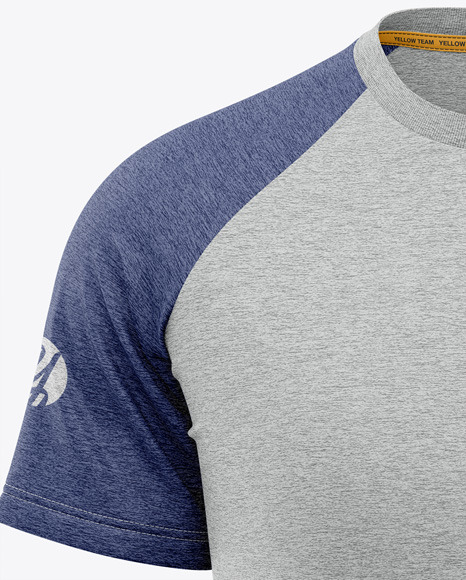 Men's Heather Raglan T-Shirt Mockup - Front View
