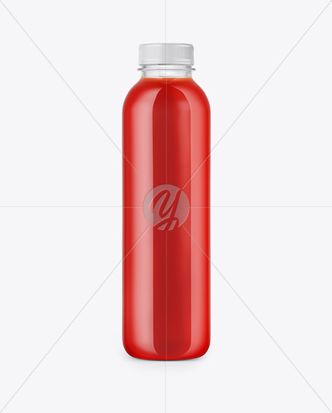 Clear Bottle with Tomato Juice Mockup