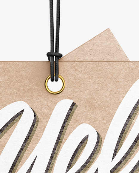 Two Kraft Labels With Rope Mockup