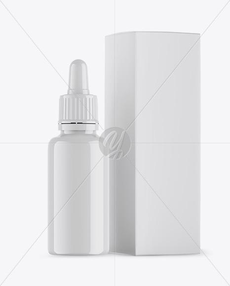 Glossy Dropper Bottle & Matte Box Mockup
