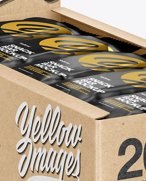 Kraft Display Box w/ 20 Snack Bars Mockup