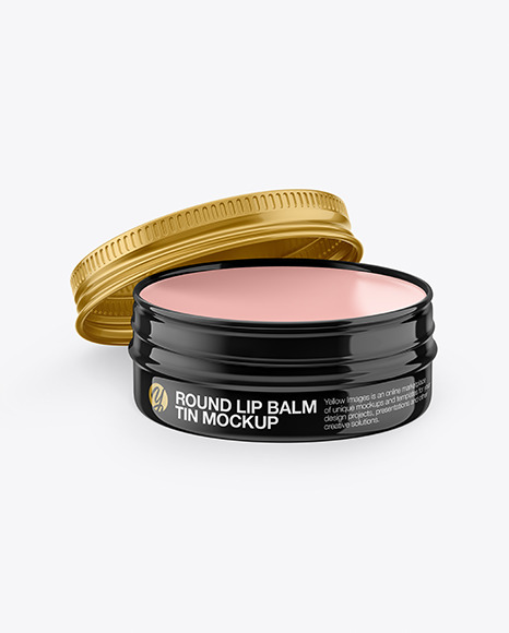 Download Opened Glossy Lip Balm Tin PSD Mockup