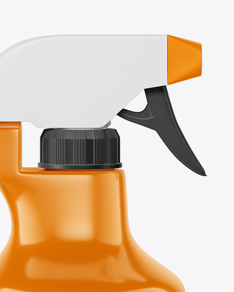 Glossy Plastic Bottle with Trigger Sprayer Mockup