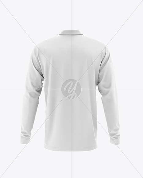 Men's Raglan Long Sleeve Polo Shirt Mockup - Back View