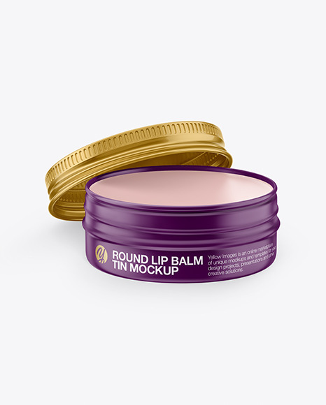 Opened Matte Lip Balm Tin Mockup