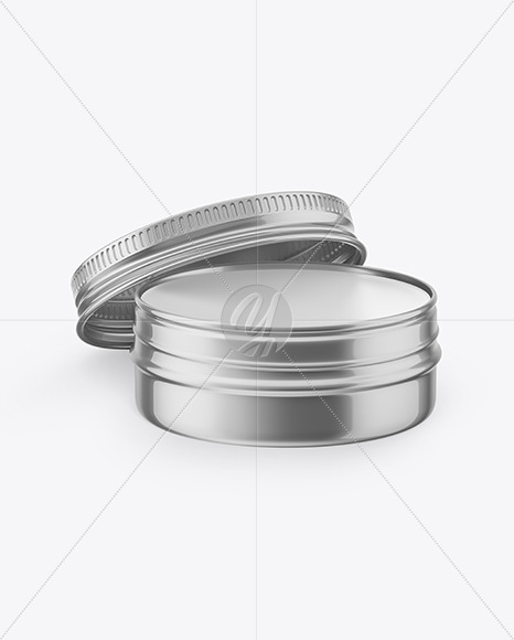 Opened Metallic Lip Balm Tin Mockup