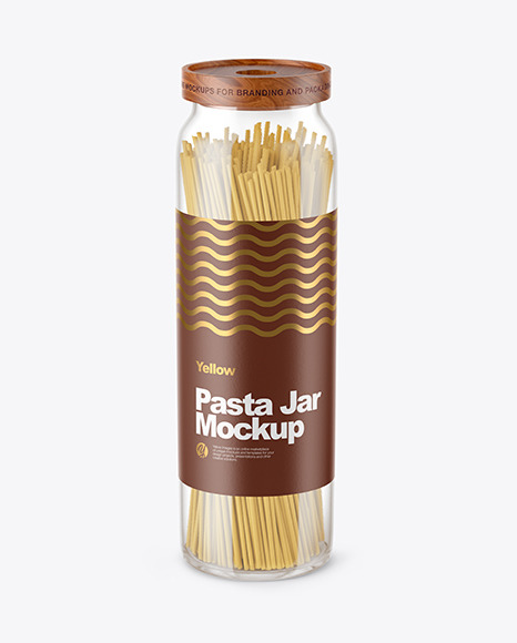 Download Glass Jar with Pasta PSD Mockup