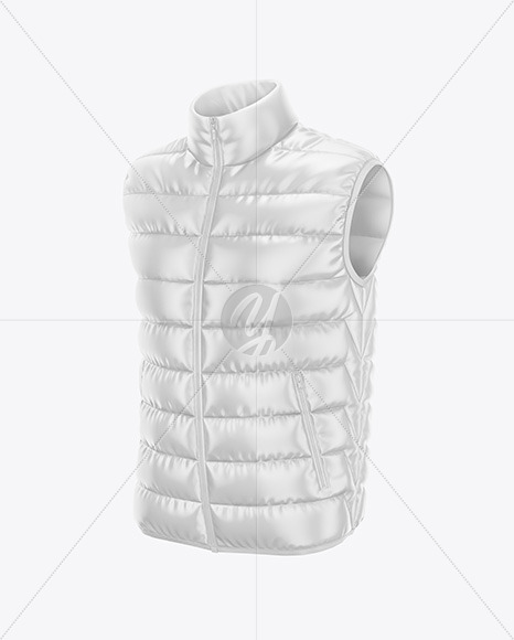Men's Down Vest Mockup - Front Half Side View