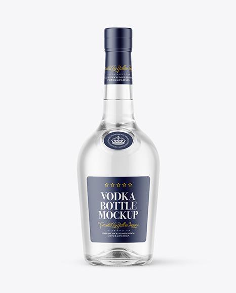 Download 500ml Clear Glass Vodka Bottle PSD Mockup