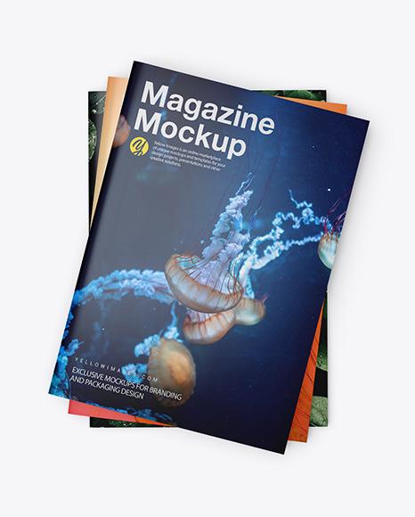 Download Three Glossy A4 Magazines PSD Mockup
